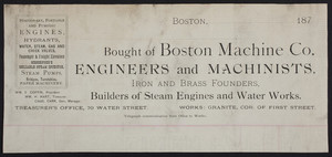 Billhead for the Boston Machine Co., engineers and machinists, Boston, Mass., 1870s