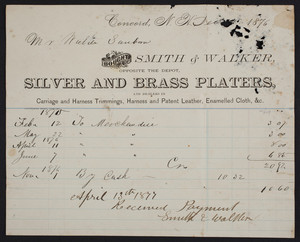 Billhead for Smith & Walker, silver and brass platers, opposite the depot, Concord, New Hampshire, dated December 1876