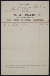 Billhead for R.A. Blair, Dr., blacksmith, East Arlington, Vermont, dated September 2, 1892