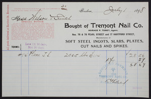 Billhead for the Tremont Nail Co., Nos. 76 & 78 Pearl Street and 17 Hartford Street, Boston, Mass., dated July 1, 1898