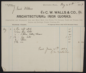 Billhead for C.W. Walls & Co., Dr., architectural iron works, 44 Lagrange Street, Worcester, Mass., dated May 29, 1897