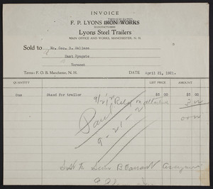 Billhead for F.P. Lyons Iron Works, Lyons Steel Trailers, Manchester, New Hampshire, dated April 21, 1921