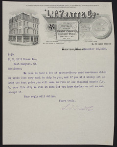 Letterhead for L.T. Pratt & Co., dealers in metals, No. 50 India Street, Boston, Mass., dated December 26, 1895