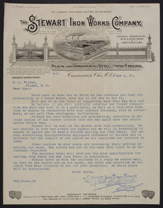 Letterhead for The Steward Iron Works Company, manufacturers of plain and ornamental steel and iron fencing, Cincinnati, Ohio, dated April 9, 1907