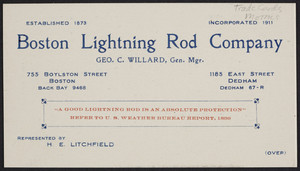 Trade card for the Boston Lightning Rod Company, 755 Boylston Street, Boston and 1185 East Street, Dedham, Mass., undated