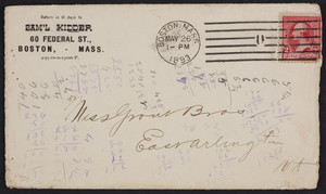 Envelope for Sam'l Kidder, belting, packing and mill supplies, 60 Federal Street, Boston, Mass., dated May 26, 1893