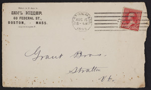 Envelope for Sam'l Kidder, belting, packing and mill supplies, 60 Federal Street, Boston, Mass., dated August 15, 1893