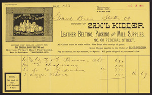 Billhead for Sam'l Kidder, leather belting, packing and mill supplies, No. 60 Federal Street, Boston, Mass., dated August 14, 1893