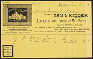 Billhead for Sam'l Kidder, leather belting, packing and mill supplies, No. 60 Federal Street, Boston, Mass., dated November 17, 1893