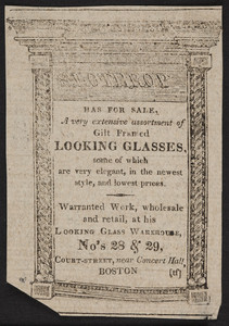Advertisement for the Looking Glass Warehouse, S. Lothrop, Nos. 28 & 29 Court Street, Boston, Mass., 1815