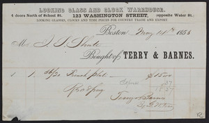 Billhead for the Looking Glass and Clock Warehouse, Terry & Barnes, 123 Washington, opposite Water Street, Boston, Mass., dated May 14, 1853