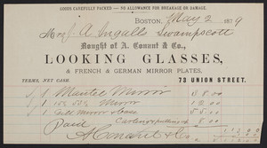 Billhead for A. Conant & Co., looking glasses & French & German mirror plates, 73 Union Street, Boston, Mass., dated May 2, 1879