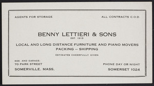 Trade card for Benny Lettieri & Sons, local and long distance furniture and piano movers, 70 Park Street, Somerville, Mass., undated