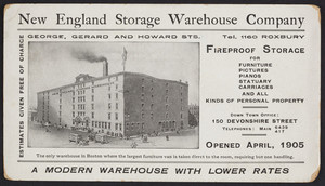 Postcard for the New England Storage Warehouse Company, George, Gerard and Howard Streets, Roxbury, Mass., dated September 2, 1905