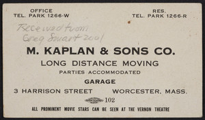 Trade card for M. Kaplan & Sons Co., long distance moving, 3 Harrison Street, Worcester, Mass., undated