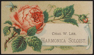 Trade card for Chas. W. Lee, harmonica soloist, Bay State Lyceum Bureau, 25 Winter Street, Boston, Mass., 1881