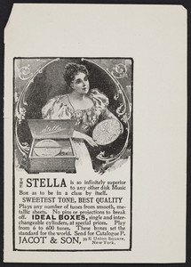 Advertisement for The Stella Music Box, Jacot & Son, 39 E. Union Square, New York, New York, September 1898