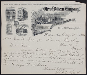 Billhead for the Oliver Ditson Company, music publishers and dealers in music, music books and musical instruments, 453 to 459 Washington Street, Boston, Mass., dated August 29, 1901