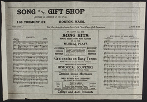 Song and Gift Shop, Jerome H. Remick & Co., 168 Tremont Street, Boston, Mass., undated