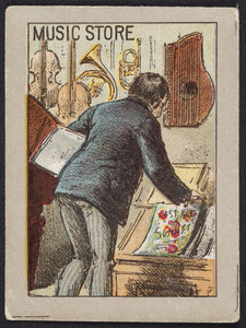 Trade card for unidentified music store, location unknown, undated
