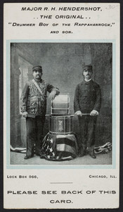 Trade card for Major R.H. Hendershot and son, Lock Box 966, Chicago, Illinois, undated