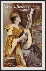 Trade card for Vose & Sons, pianos, Boston, Mass., 1890