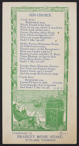 Trade card for the Bradley Music Store, Rutland, Vermont, undated
