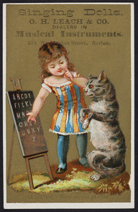 Trade card for singing dolls, O.H. Leach & Co., dealers in musical instruments, 578 Washington Street, Boston, Mass., undated