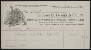 Billhead for John C. Haynes & Co., Dr., musical instruments, strings, sheet music, 453 to 463 Washington Street and 33 Court Street, Boston, Mass., dated December 3, 1896