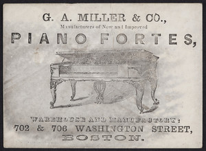 Trade card for G.A. Miller & Co., manufacturers of new and improved piano fortes, 702 & 706 Washington Street, Boston, Mass., undated
