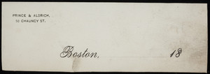 Letterhead for Prince & Aldrich, skirt manufacturers, 50 Chauncy Street, Boston, Mass., 1800s