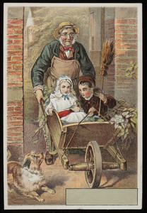 Trade card, man pushing children in a wheelbarrow, Sunshine Publishing Co., Philadelphia, Pennsylvania, undated