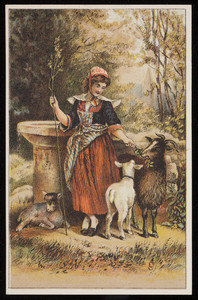Trade card, female goatherd with three goats, location unknown, undated