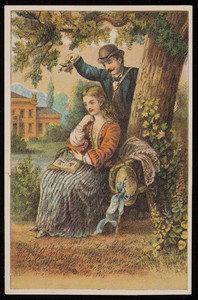 Trade card, man holding flowers over a seated woman with a book, location unknown, undated