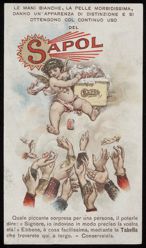 Trade card for Sapol, soap, A. Bertelli & Co., Milan, Italy, 1890s