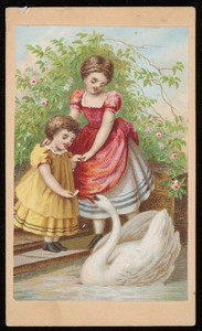 Trade card, two young girls feeding a swan, location unknown, undated