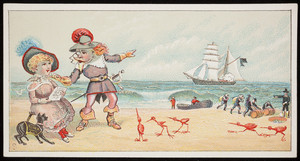 Trade card, couple at the seashore with birds and smugglers, Ketterlinus, Philadelphia, Pennsylvania, undated