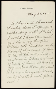 "Letter from Isabella Stewart Gardner to Caroline ""Carrie"" Sidney Sinkler, May 31, 1923"