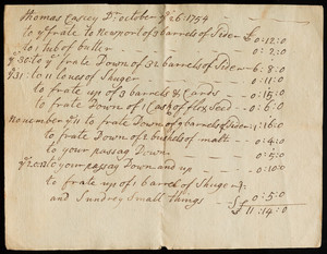 Accounts settled by Thomas Casey, Oct. 26, 1754