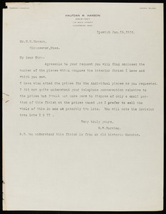 Letter from R. W. Burnham to Halfdan M. Hanson, January 15, 1916