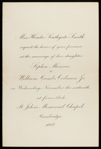 Invitation to the wedding of Sophia Munroe and William Coombs Codman