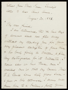 "Handwritten excerpt from a letter from Susan Quincy to ""Aunt Anna,"" August 30, 1881"