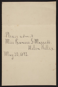 Invitation from Helen Keller to Frances S. Marrett