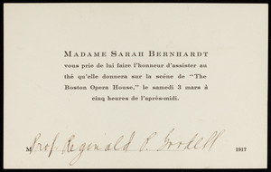 Invitation to see Sarah Bernhardt at the Boston Opera House