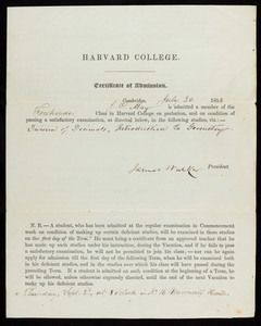 Harvard College certificate of admission for J. R. May