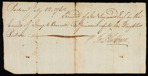 "Receipt for portrait of Sarah ""Sally"" Barrell by Joseph Blackburn"