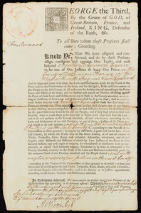Appointment of Jonathan Sayward as justice of the peace for King George III