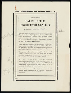"Advertisement with personal notes for ""Salem in the Eighteenth Century"""