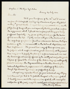 Letter sent by John Quincy Adams as U.S. Representative