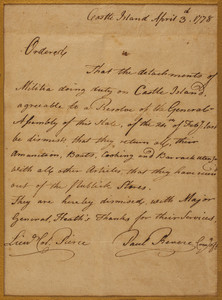Orders from Paul Revere and Col. Pierce, Castle Island, Massachusetts